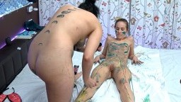 Piper and Taylor paint their bodies and have fun, Feb 24