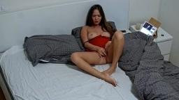 Leora orgasm masturbate for us in red underwear, Mar 6