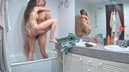 Martina and Alberto quick suck and fuck in bathroom, Mar 14